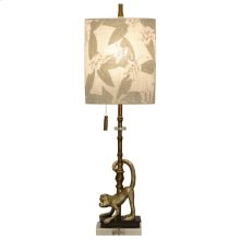 Lisarow Monkey Motif Accent Table Lamp with Pull Chain and Designer Inner Fabric Shade