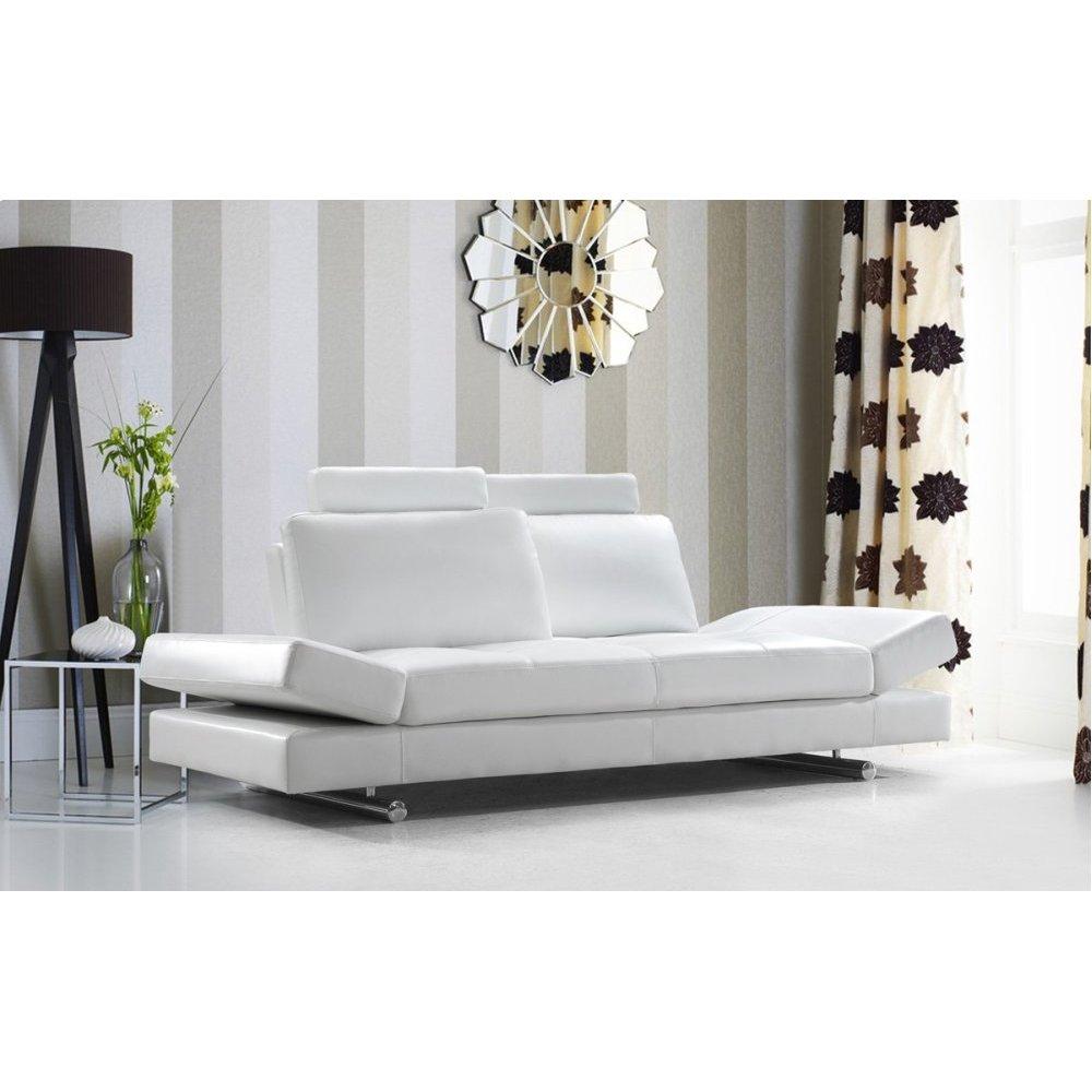 Divani Casa Hymn - Modern White Leather Sofa with Adjustable Backrest