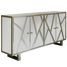 WEXFORD SIDEBOARD  Beveled Mirror with Champagne Finish  4 Door