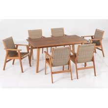 "Kate 64"" Rectangular Karri Gum FSC KD Dining Table w/ umbrella hole"