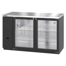 HBB-2G-LD-59, Refrigerator, Two Section, Black Vinyl Back Bar Back Bar, Glass Doors