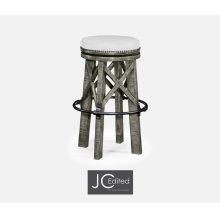 Country Style Antique Dark Grey & Iron Bar Stool, Upholstered in COM