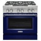 36'' 6-Burner Dual Fuel Freestanding Range, Commercial-Style - Cobalt Blue Product Image