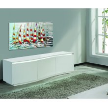 White Lacquer TV Stand With LED Light