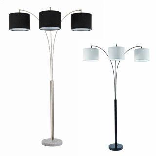 Black Floor Lamp W/white Shade