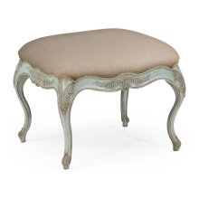 Large French Provincial Walnut Footstool Pale Green