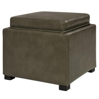 Cameron Square Bonded Leather Storage Ottoman w/tray, Quarry