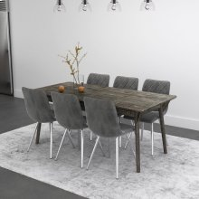 Mira/Marlo 7pc Dining Set, Grey/Grey
