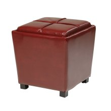 2-piece Red Bonded Leather Ottoman Set