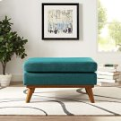 Engage Upholstered Fabric Ottoman in Teal Product Image