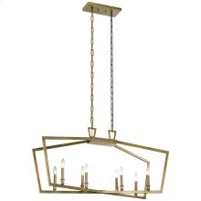 "Abbotswell 42"" 8 Light Linear Chandelier Natural Brass"