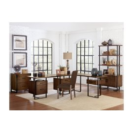 Return Desk with One Cabinet, Reversible