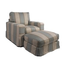 Sunset Trading Americana Slipcovered Chair and Ottoman - Color: 479541
