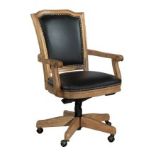 Wood Frame Black Leather Office Chair