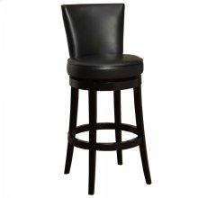 "Boston Swivel Barstool In Black Bonded Leather 26"" seat height"