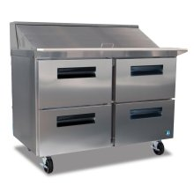 Refrigerator, Two Section Mega Top Prep Table with Drawers