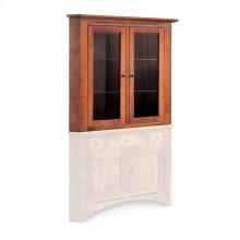 """Aspen Closed Corner Hutch Top, 38"""", Antique Glass"""