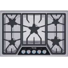 "Masterpiece 30"" Stainless steel 5-burner gas cooktop"