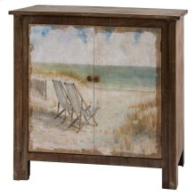 Gulf Breeze Rustic Wood Painted Canvas Beach Scene 2 Door Cabinet