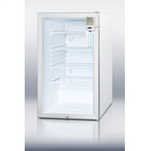 "ADA compliant 20"" wide commercial glass door all-refrigerator for freestanding use, with lock, alarm, internal fan, and hospital grade cord"