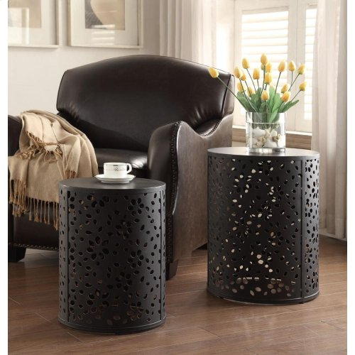 Middleton 2 Piece Set Round Accent Tables, Fully Assembled.