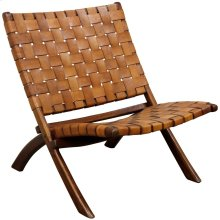Richard Lounge Chair  26in X 32in X 30in Retro Foldable Teak Wood & Genuine Woven Leather Seat & Se