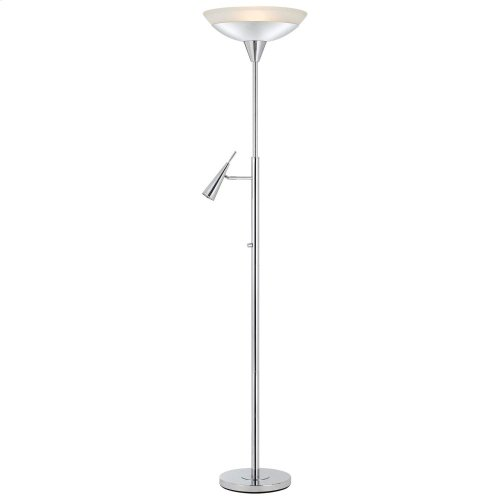 38W + 6W LED Metal/Glass Torchiere With LED Reading Lamp