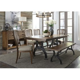 Opt 6 Piece Trestle Table Set