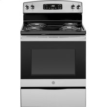 "GE® 30"" Free-Standing Self-Clean Electric Range.  (This is a Stock Photo, actual unit (s) appearance may contain cosmetic blemishes. Please call store if you would like actual pictures). This unit carries A ONE YEAR MANUFACTURER WARRANTY. REBATE NOT VALID with this item. ISI 34150GH"