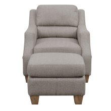 Storage Pocket Accent Chair and Ottoman - Fawn