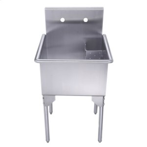 Pearlhaus Collection small, square, single bowl commercial freestanding utility sink. Product Image
