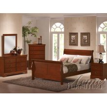 Cherry Oak Finish Cal King Bedroom Set