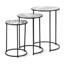 Salvia Marble Nesting Tables - Set of 3
