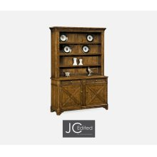 Country Walnut Style China Cabinet