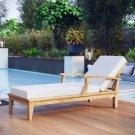 Marina Outdoor Patio Teak Single Chaise in Natural White Product Image