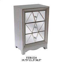 Park Ave Pewter 3 Drawer Pattern Cut Mirrored Chest