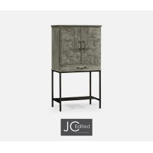 Antique Dark Grey Drinks Cabinet with Iron Base