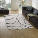 Therese Abstract Swirl 5x8 Area Rug in Ivory and Charcoal Product Image