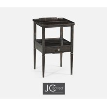 Dark Ale Square Lamp Table with Drawer