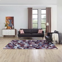 Andela Interlocking Block Mosaic 8x10 Area Rug in Multicolored Red and Light Blue