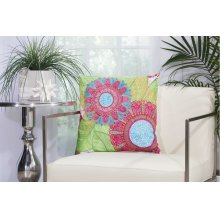 "Outdoor Pillow L1027 White 18"" X 18"" Throw Pillow"