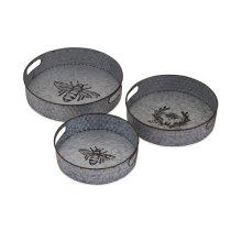 TY Honeybee Galvanized Decorative Trays - Set of 3