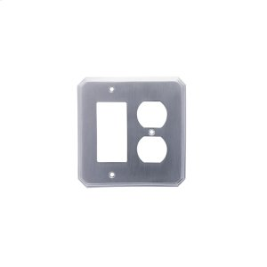 Single GFI/ Single Duplex Deco Switch Plate - Satin Chrome Product Image