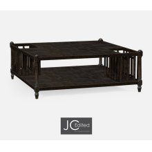 Dark Ale Square Coffee Table with Two Magazine Racks