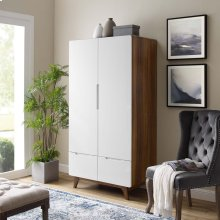 Origin Wood Wardrobe Cabinet in Walnut White