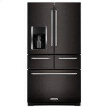 "Black-on-Stainless KitchenAid® 25.8 Cu. Ft. 36"" Multi-Door Freestanding Refrigerator with Platinum Interior Design"