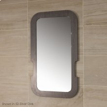 Wall- mount mirror in wooden frame.