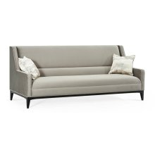 "89"" Square Black Eucalyptus Sofa, Upholstered in Bella"