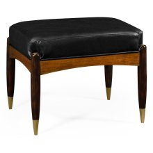 Contemporary Hyedua & Ebonised Stool, Upholstered in Black Leather