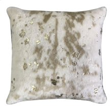 BELL HIDE PILLOW  Faux Hair on Hide- Camel with Metallic Gold  Poly Fill